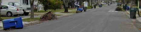 trash cans sprawled shamelessly along the street